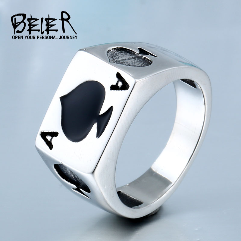 Lucky Spade A Playing Card Ring 316L Stainless Steel Man's Fashion Jewelry Retro Personality BR8-043 US Size