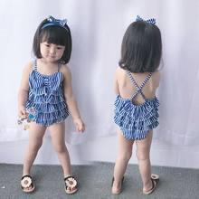 46abc80f509003 2018 nowy dziewczynek granatowy studenci paski łuk pływanie kostiumy  kąpielowe w tym opaska do włosów + koronki sukienka dla 2 -.