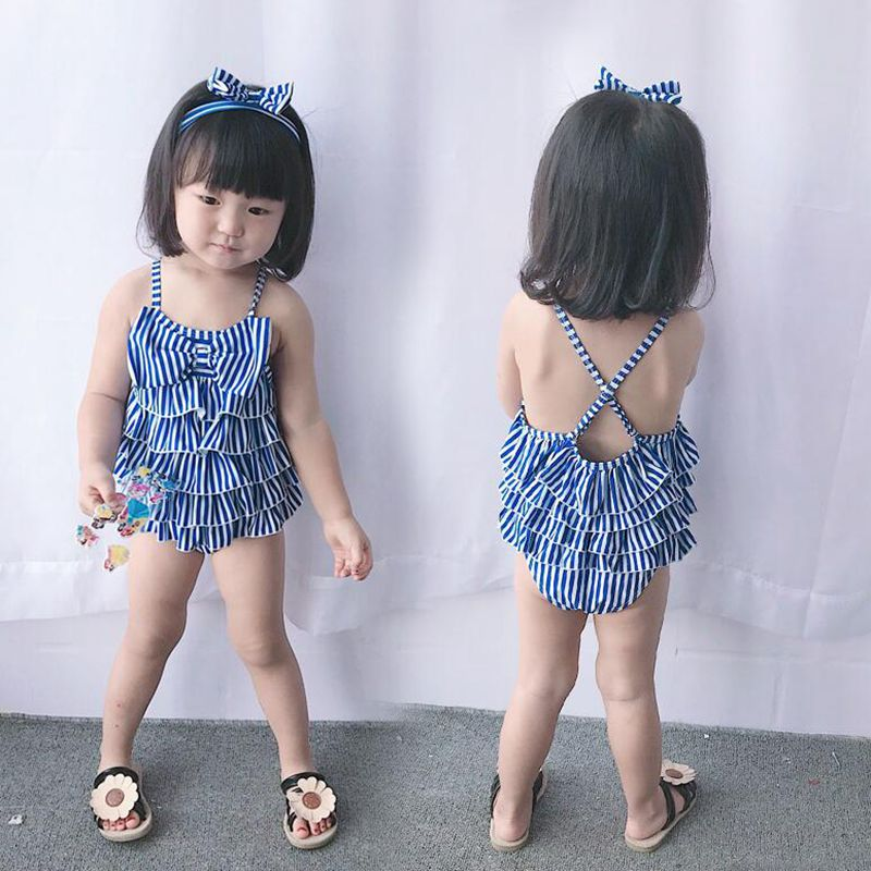 2018 New Baby Girls Navy Students Striped Bow Swimming Bathing Suits Including A Hair Band +A Lace Dress For 2 9 year Girls