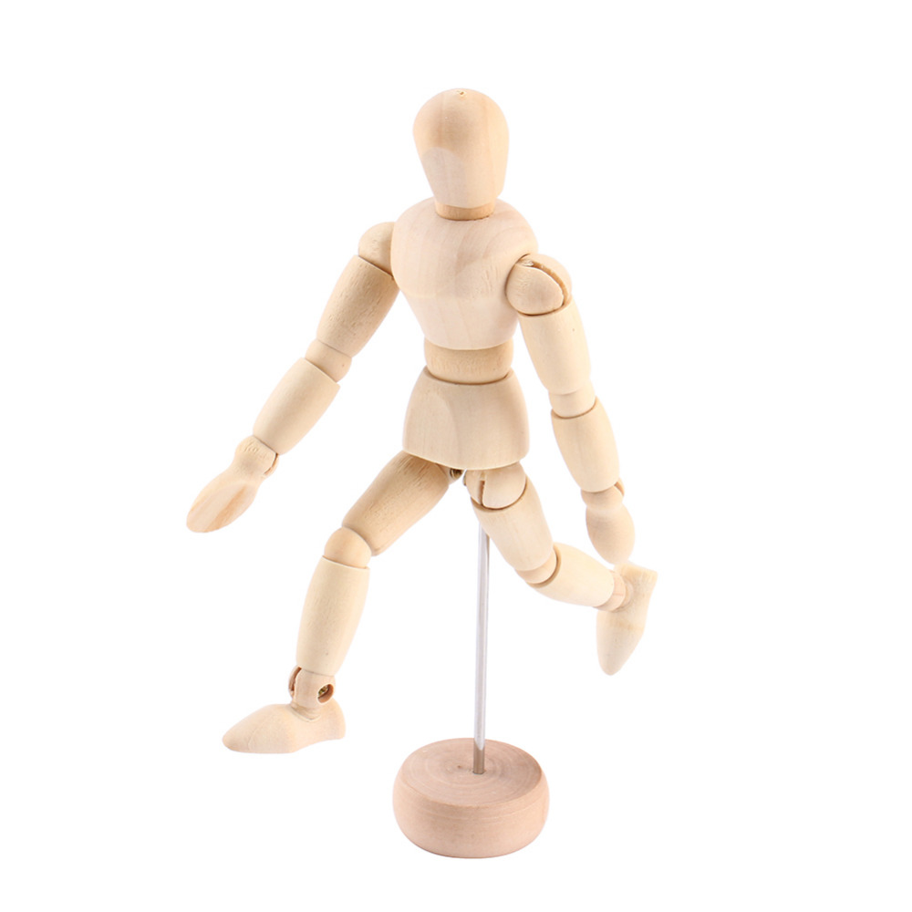 Wooden 5.5INCH Artist Movable Limbs Male Toy Figure Model Mannequin Art Sketch Draw Action Toy Figures Kids Toys P15