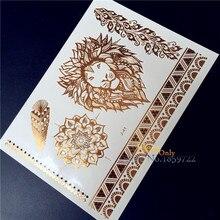 New Metallic Gold Silver Body Art men women henna HJ-41 lion indian sun flower feather Braclet Design temporary tattoo stickers