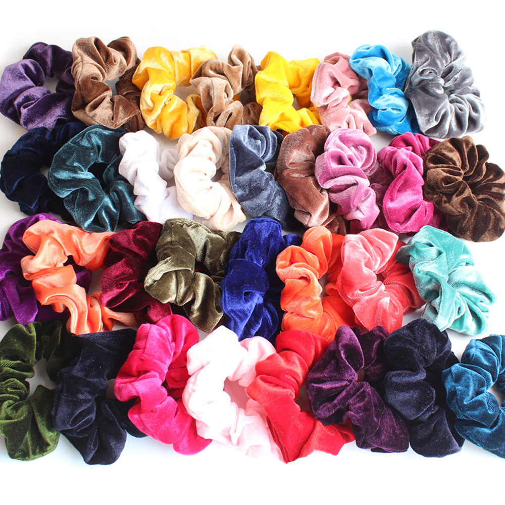 33 Solid Color Woman Velvet Scrunchies Hair Ring Female Girls Ponytail Holder Elastic Hair Rubber Bands Accessories
