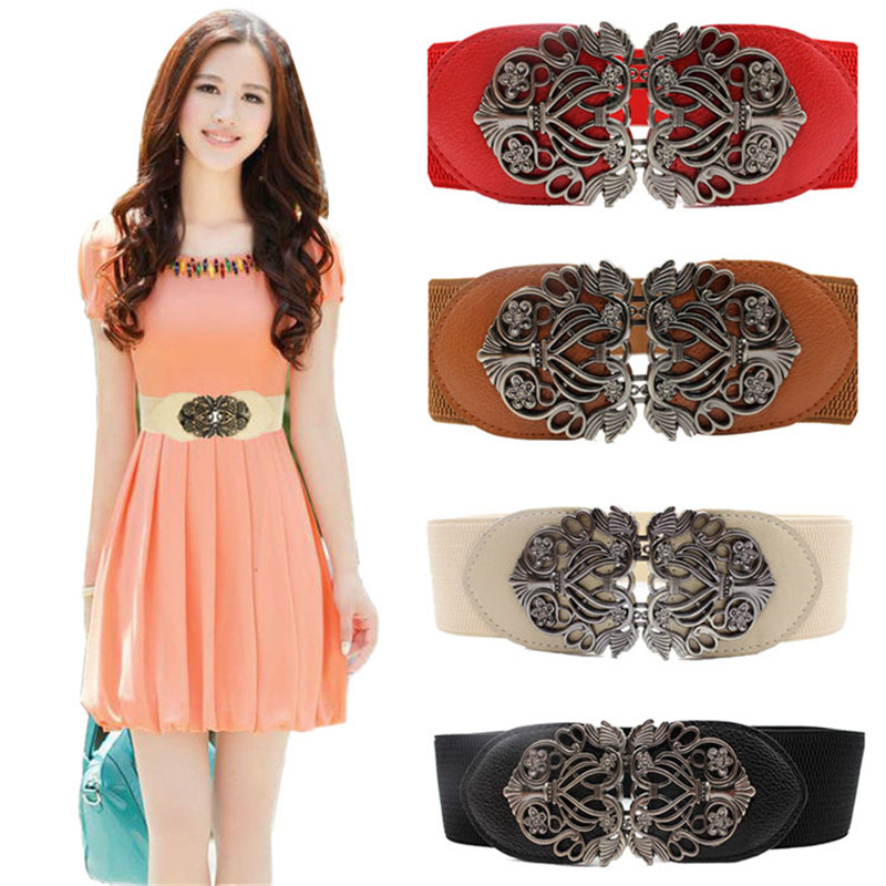 New Fashion Alloy Flower Vintage Female Belt For Dress Lady Wide Elastic Belt Apparel Accessories Waistband Amazing pasek damski