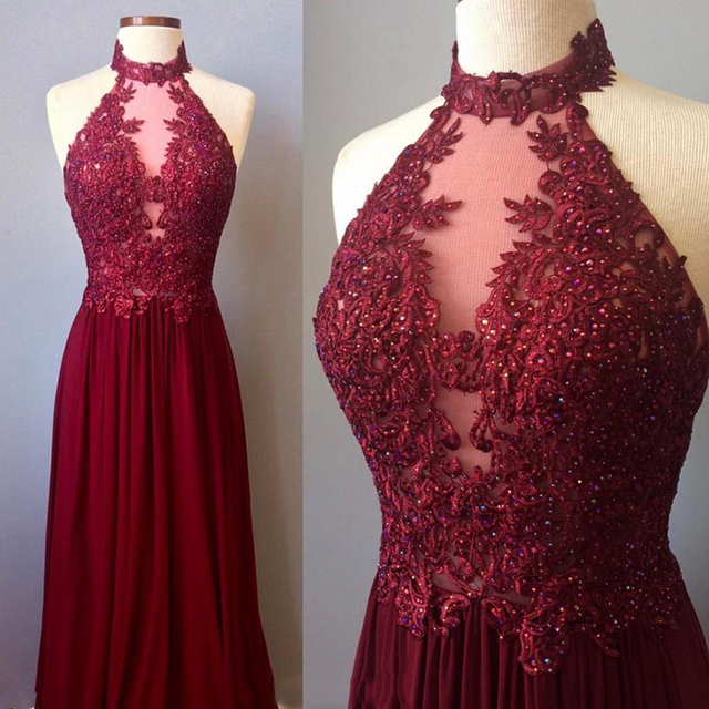 b82e95f227c5 2018 Sexy Halter A-line Bridesmaid Dresses Burgundy Appliques Beaded  African Bridal Prom Dress Party Gowns Maid Of Honor Dress