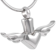 DJX8179 Angel Wings Heart Cremation Urn Necklace 316L Stainless Steel Memorial Ashes Keepsake Memorial Jewelry Urn Pendant stainless steel cremation jewelry angel wings pendant memorial urn necklace