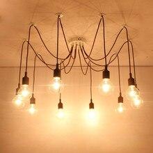 Colorful Spider Chandelier Lamp Vintage Retro Adjustable Pendant Lamps E27 E26 Edison Creative Loft Art Decorative DIY Light
