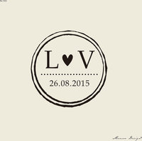 Save The Date Stamp Custom Rubber Stamp 2x2 Inch Custom Initial With Heart Vintage Circle Border