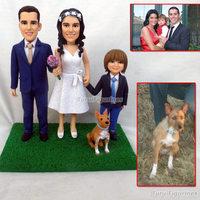 OOAK полимерной глины кукла Семья подарки пользовательские фигурка с Домашние животные свадьба день рождения торт Топпер подарок ко Дню Свят