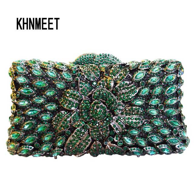Laisc Handmade Women Handbag Green Diamante Evening Bag Crystal Clutch Purse Rose Flower Hollow Out Mini