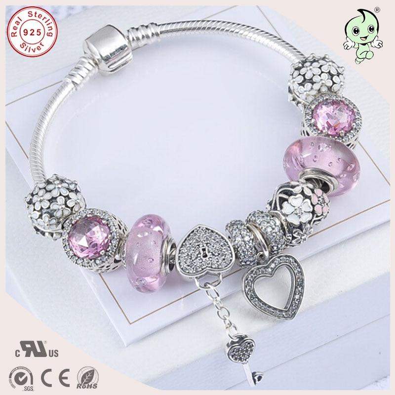 Здесь продается  High Quality European Popular Shinning Pink Murano Charm Series 925 Real Silver Charm Bracelet For Girls  Ювелирные изделия и часы