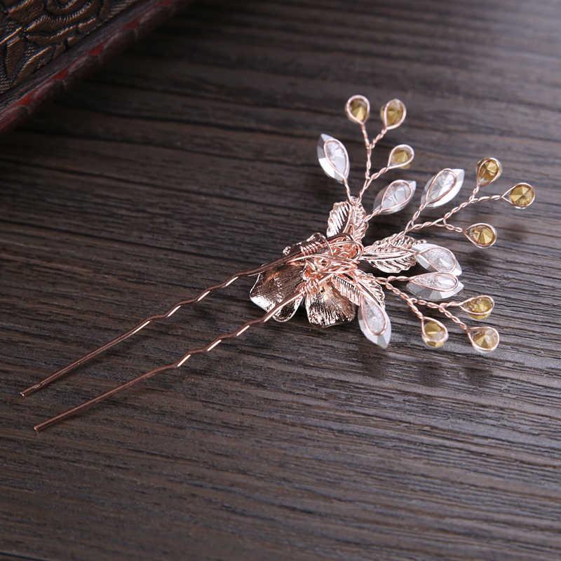 Nouveau à la mode Rose or argent épingle à cheveux bâton de mariée pinces à cheveux pour les femmes cristal fleur mariage cheveux accessoires strass bijoux