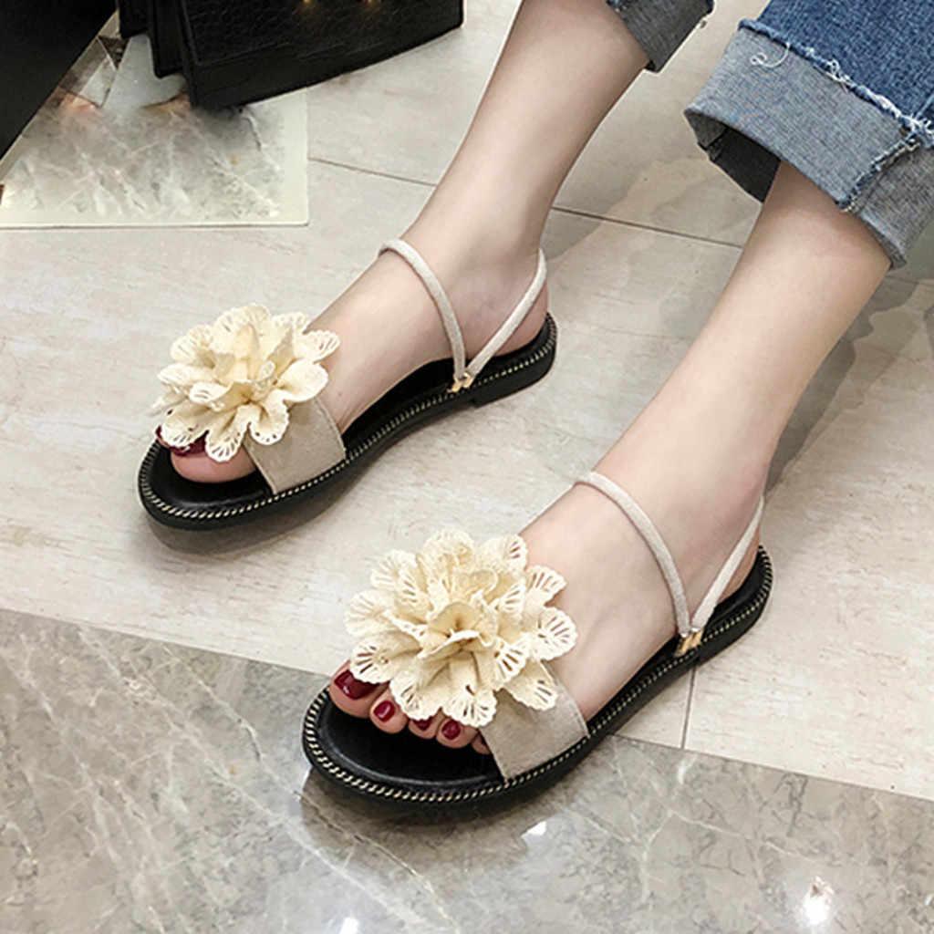 קיץ נשים של חוף סנדלי נעליים מזדמנים בוהן פתוח פרח שטוח כפכפים חוף ים החלקה רך תחתון סנדלי החוף zapatos Mujer