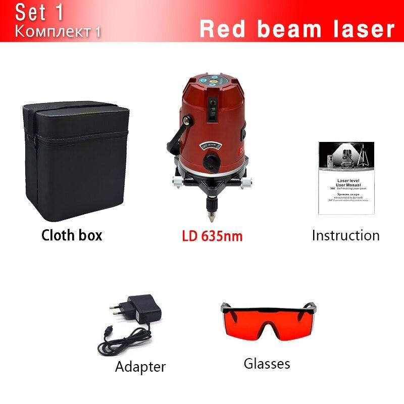 CLUBIONA зеленый и красный луч линии 360 градусов Поворотный наружный режим-приемник и наклон slash доступен автоматический линейный лазерный уровень - Цвет: 05RCN-CR