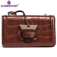 Luxury Crocodile Pattern Women Shoulder Bag Triangle Plug Closed Flap Handbag Retro Female Leather Clutches Purse