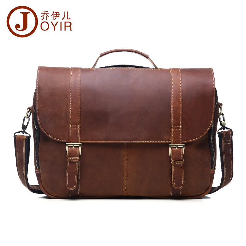 JOYIR Men Genuine Leather Shoulder Bags Laptop Briefcase Messenger Crossbody Pouch Travel Bag for Man new year gift Bao Bao xiyuan genuine leather handbag men messenger bags male briefcase handbags man laptop bags portfolio shoulder crossbody bag brown