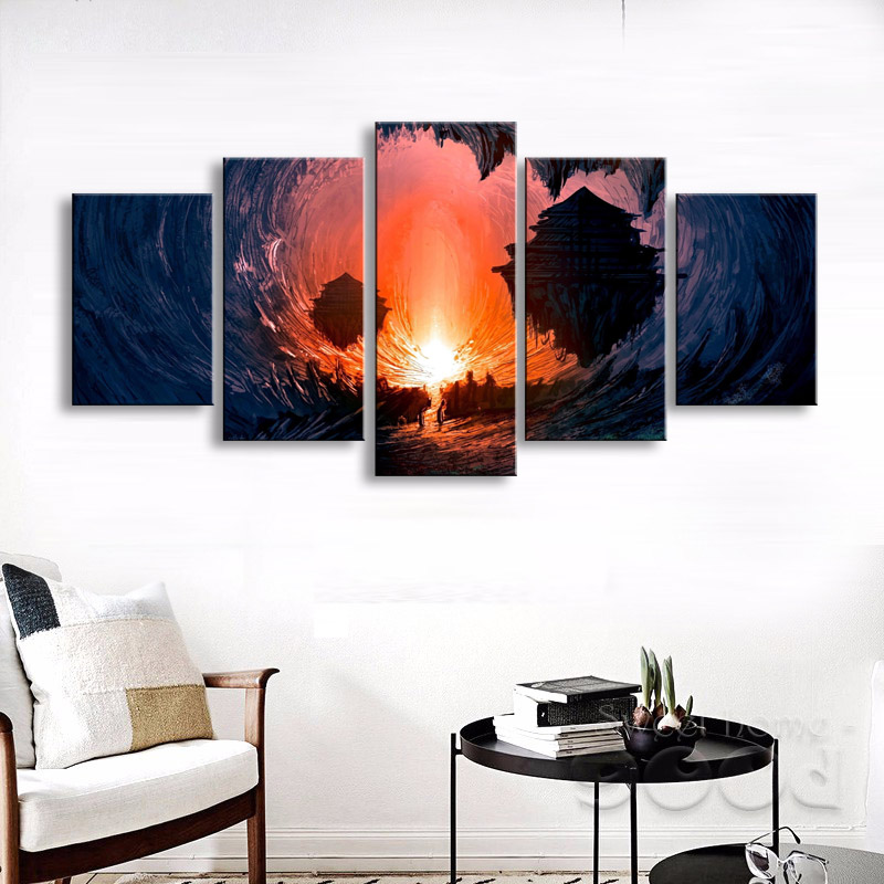 5 pieces high-definition print fantasy Art canvas oil painting poster and wall art living room picture DM-006 (5)