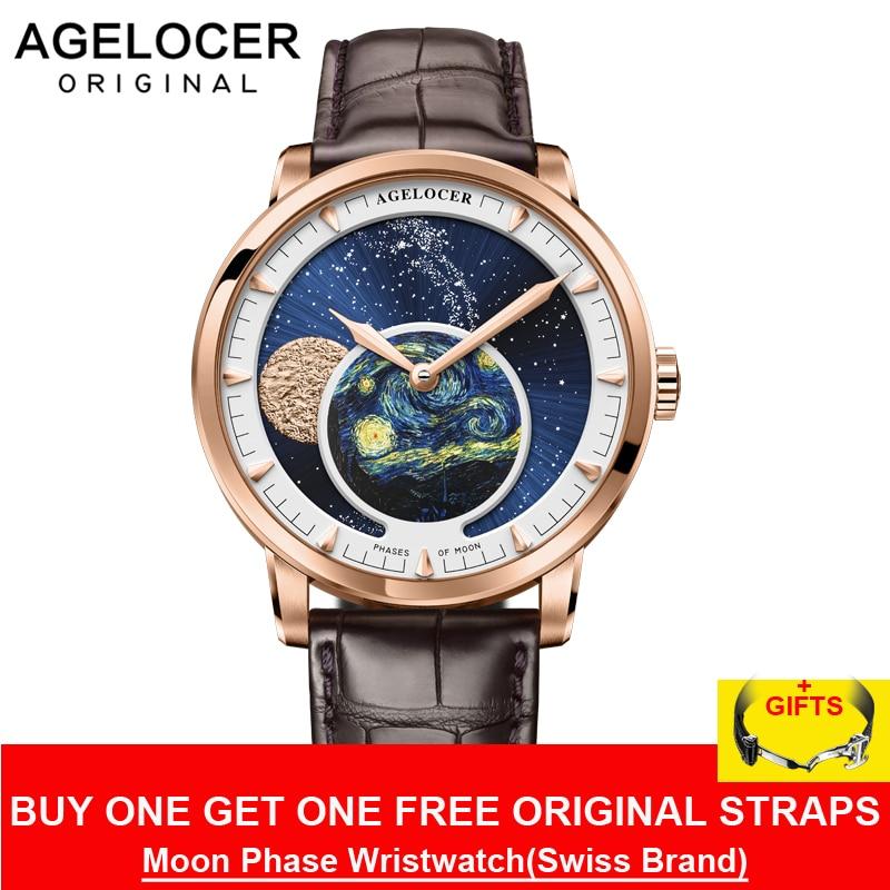Agelocer marca de topo designer relógio masculino safira cristal rosa ouro lua fase relógios marrom couro banda 6401d2