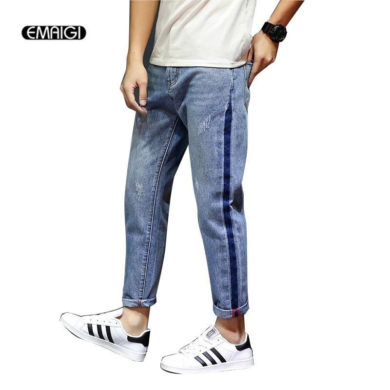 New Male Denim Pants Ripped Hole Men Jeans Fashion Casual Harem Pant Plus Size 28-38 Denim Trousers large size 29 42 young men jeans hole patchwork denim harem pant male fashion casual denim pant trousers