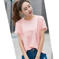 Blusa de las mujeres 2017 señoras del verano tops ahueca hacia fuera patchwork borla de algodón camisa de manga corta blusas de corea del fashion clothing xl