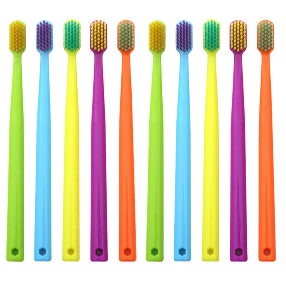 10pcs/set Manual Toothbrush Super Soft Family Ergonomic Bathroom Whitening Oral Care Colorful Non Slip Compact Bristle Health image