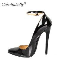 2017 neue Big Size Extra High Heels Frauen Pumpt, hohe Qualität Lackleder Frauen Party Schuhe, 16 cm Heels Spitz Pumpen