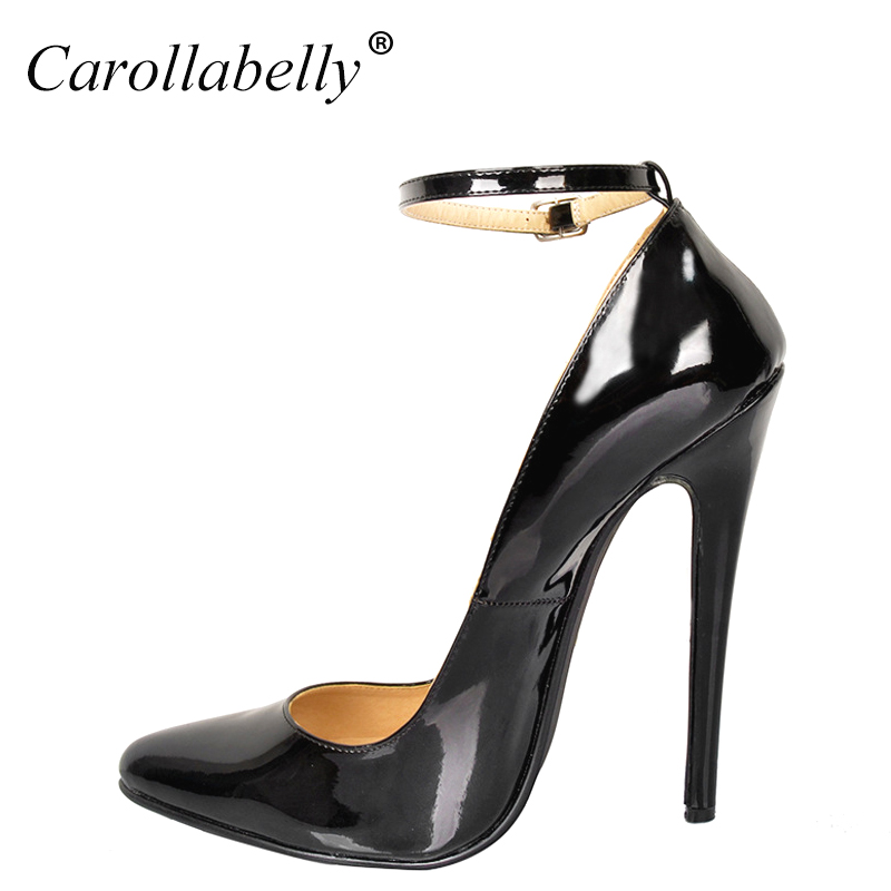 2018 New Big Size Extra High Heels Women Pumps, High Quality Patent Leather Women Party Shoes,16cm Heels Pointed Toe Pumps women high heels big