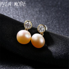 Fyla Mode Brand Single Pearl Stud 9-9.5mm Half Pearl Earrings Silver Gold Color AAAAA Pearl Stud Earrings For Women Wedding Gift