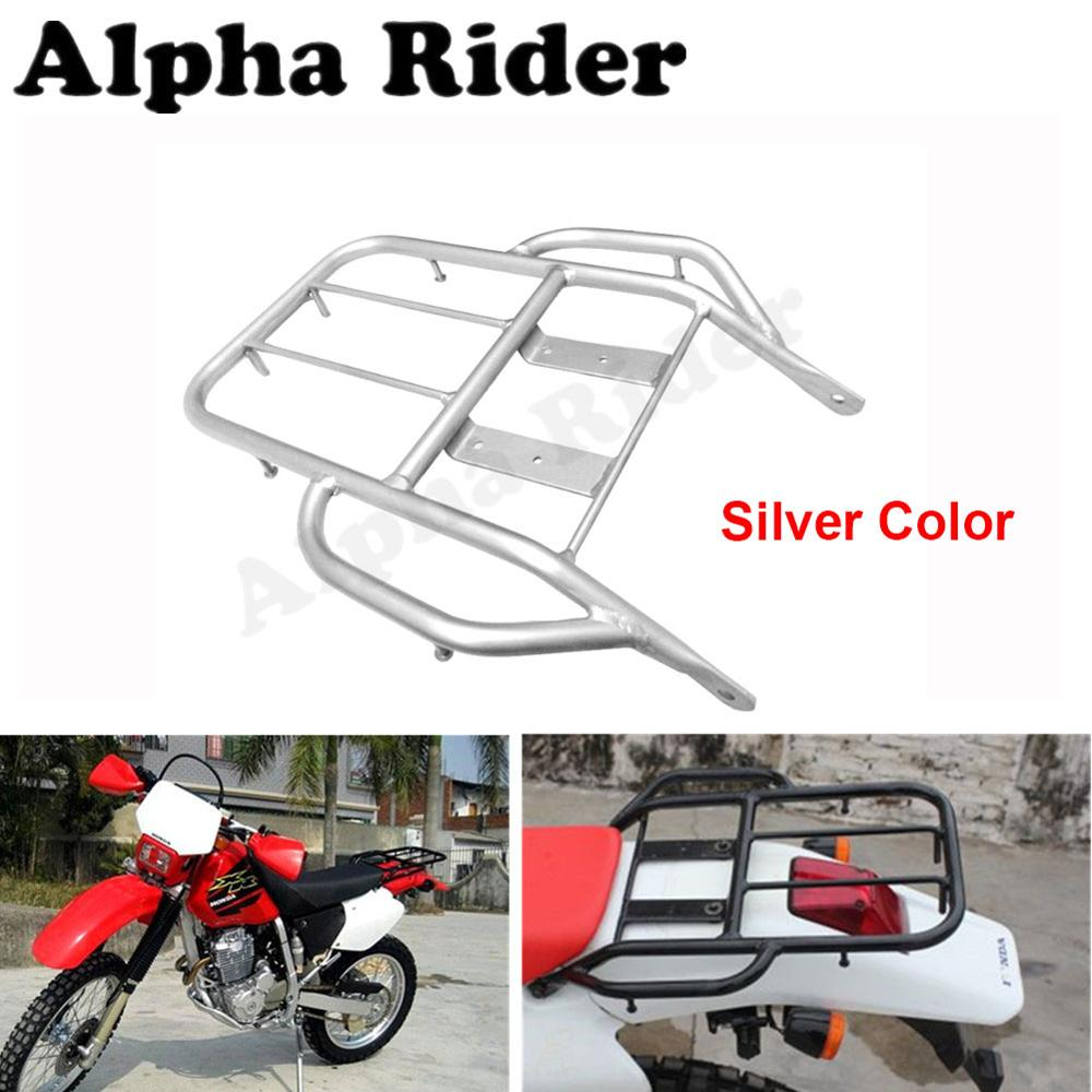 Silver Motorcycle Detachable Rear Fender Luggage Rack Support Holder Saddlebag Cargo Shelf Bracket Kit for Honda XR250 XR400 partol black car roof rack cross bars roof luggage carrier cargo boxes bike rack 45kg 100lbs for honda pilot 2013 2014 2015