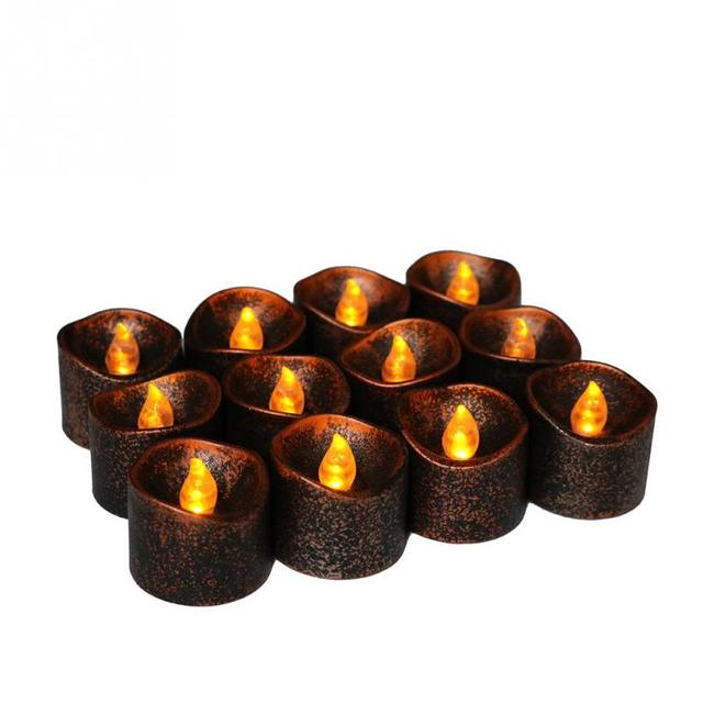 2pcs pp plastic yellow flicker battery electric led candles flameless tea lights for christmas halloween wedding