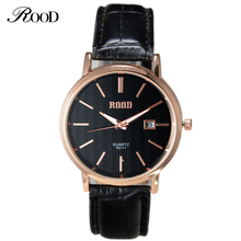Lovers Watch Brand ROOD Top Quality Leather Strap Wristwatch Mens Watches Women Casual Watch Waterproof Date Male quartz-watch