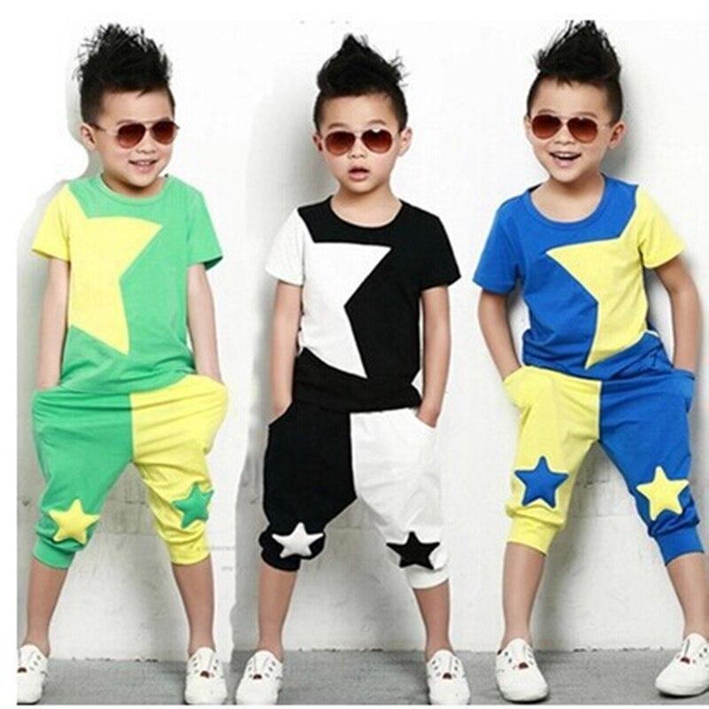 boy clothes set Fashion suit Cool Children clothin suit stars short sleeves T-shirt +Pants baby