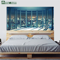 Maruoxuan 3D City Night View Bedside Head Wall Stickers Bedroom Living Room Background Home Decor Murals Wallpaper 90 * 180CM