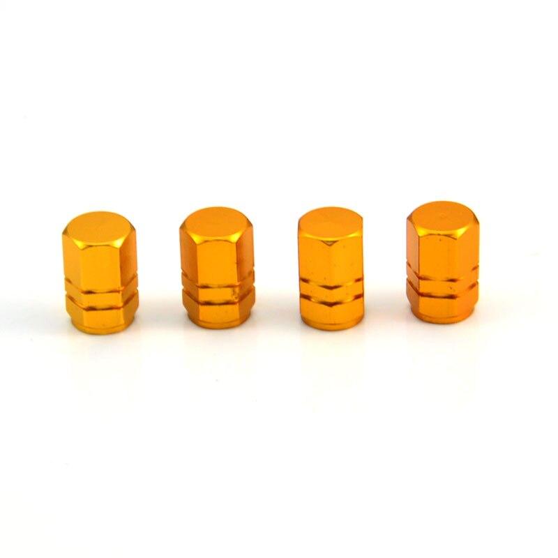 Шины 4 х алюминиевых обода колеса шины стволовые крышки воздушного клапана покрышки для автомобиля грузовика мотоцикла 6 цветов - Цвет: Золотой