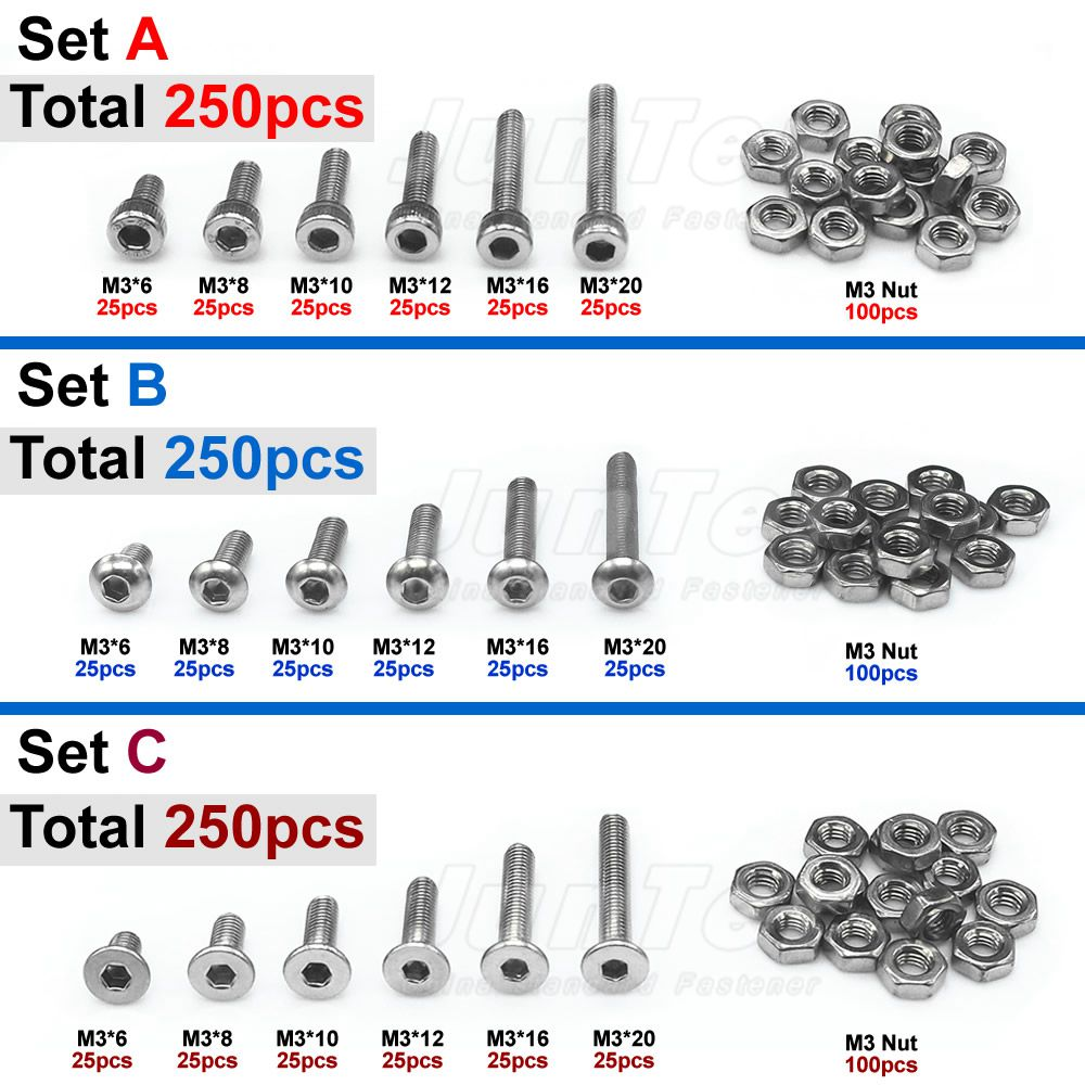 250pcs M3(3mm) A2 Stainless Steel Allen Bolts Hex Button Flat Socket Head Cap Screws With Nuts Assortment