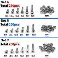250pcs M3(3mm) A2 Stainless Steel Allen Bolts Hex Button Flat Socket Head Cap Screws With Nuts Assortment