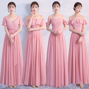 Image 3 - Korean Style Women Summer Party Sexy Wedding Guest Pearl Chiffon Long Blue Pink Bridesmaid Dresses Vestido Madrinha
