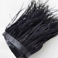 10-15 см Черный Страус отделка бахромой с пером с атласной лентой ленты, костюмы украшения, страусиные волосы перо отделка