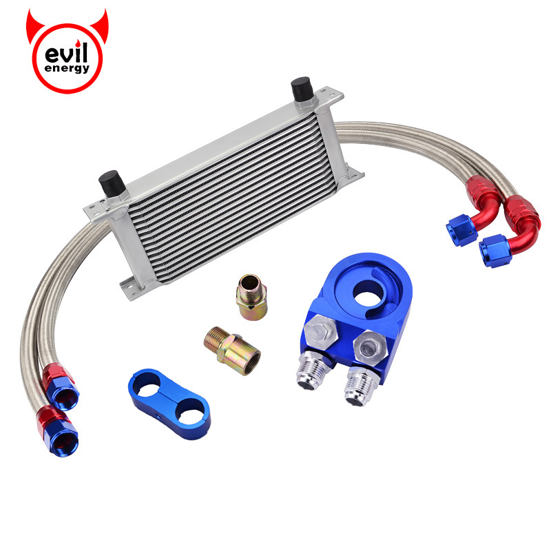 evil energy 16Row 10AN Oil Cooler Kit+Oil Cooler Adapter Filter+Swivel Oil Hose Line+AN10 Seprator Divider Clamp|clamping clamp|kit kitsfilter kit - title=