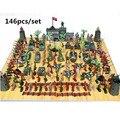 Soldado militar de brinquedo da Segundo Guerra Mundial masculino com Alta Qualidade de plástico e Roupa Militar com 146 unidades/conjunto de modelos de cena de avião e tanques Frete grátis