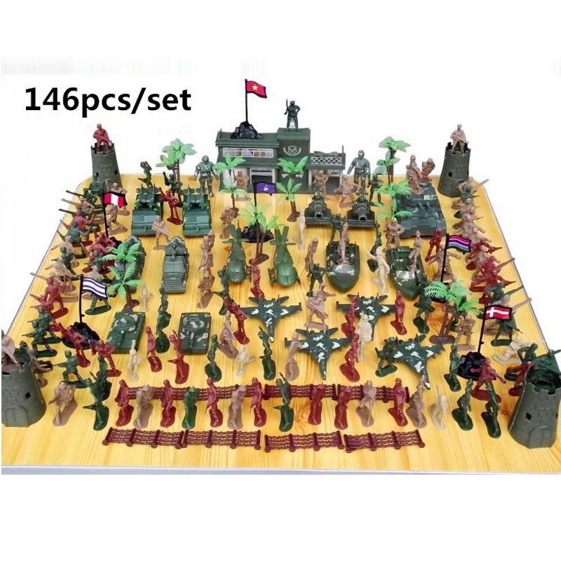 170pcs Army Men Playset 5cm Soldier Action Figures With Tanks Planes Flags & More Accessories For Sand Table Model Scene Toys Toys & Hobbies