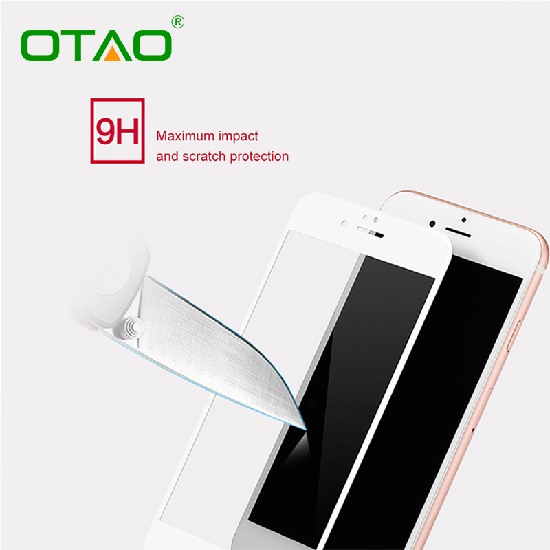 Black White Full Cover Tempered Glass Screen Protector Film For Apple iPhone 6 Plus 6S Plus