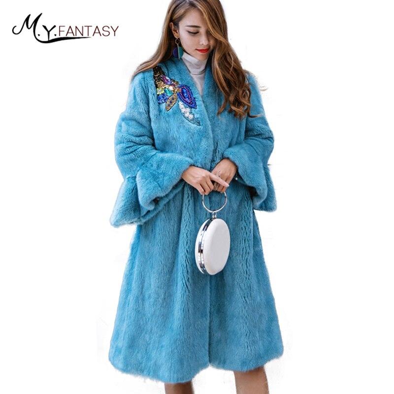 M. Y. FANSTY 2019 hiver importation velours diamants arcs papillon manches femmes vison manteau réel fourrure manteau col en v longue perte vison manteaux