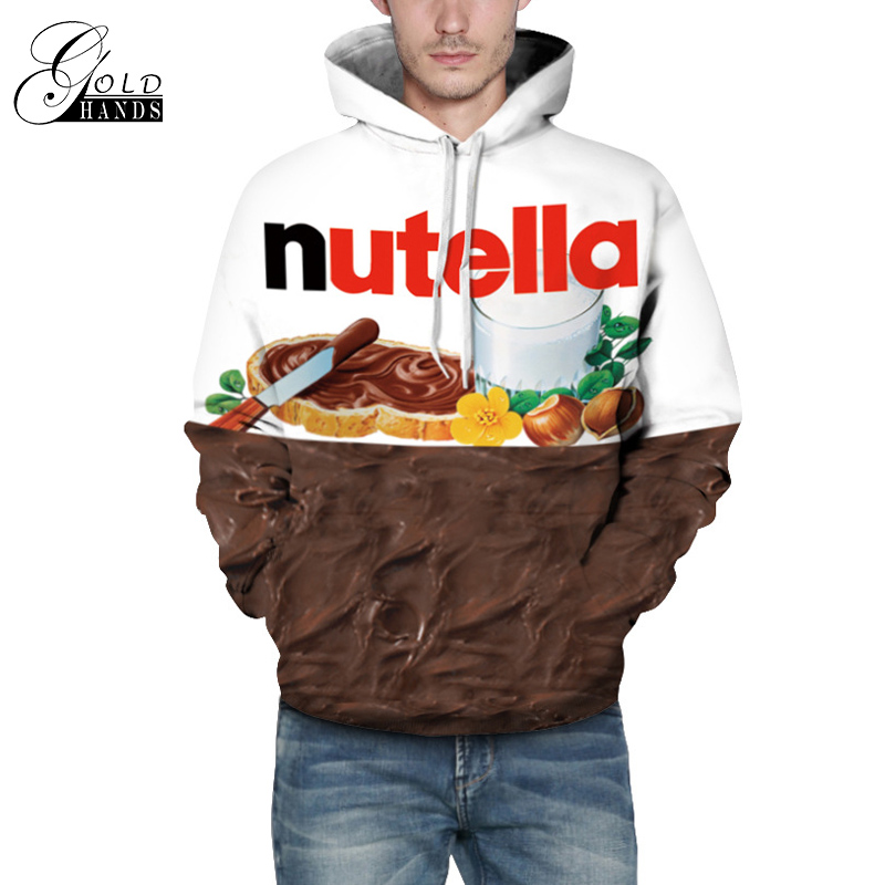 Men&Women Loose 3D Print Sweatshirt Nutella Hoodies Casual Outwear Tops for Autumn Winter Hoody Couples Tops