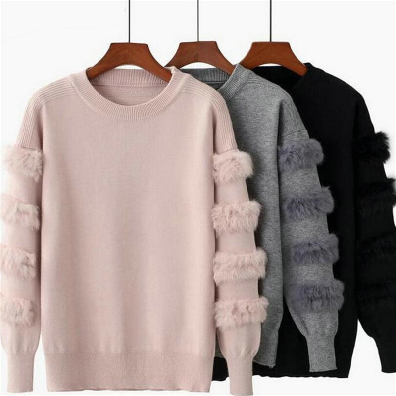 2019 Autumn And Winter New Women's Fashion Rabbit Fur Decorative Sleeve Sweater Solid Color Pullover Sweater Sweater