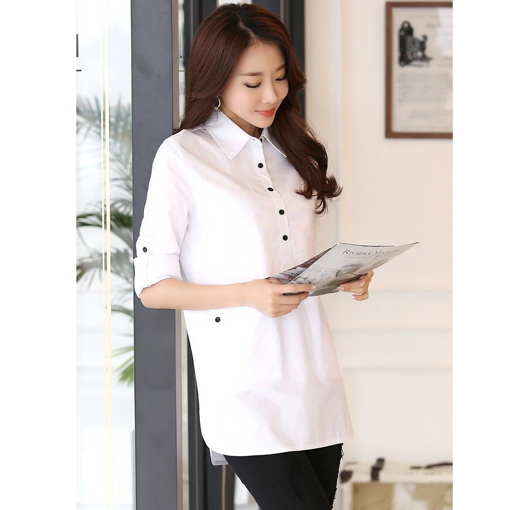 Elegan Blus Wanita Kemeja Putih Pakaian Murah Cina Kantor Blouse Baju Shirts Formal Kasual Katun Busana Blusas Femininas Di Dari