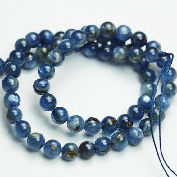 Round bead with Sterling Silver Moon necklace 8mm Gemstone Bead Necklace Natural Blue Kyanite beads Pendant