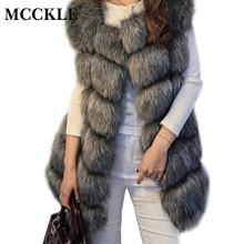 MCCKLE High Quality Fur Vest Coat Luxury Faux Fox Warm Women Coats Vest Winter Fashion Fur