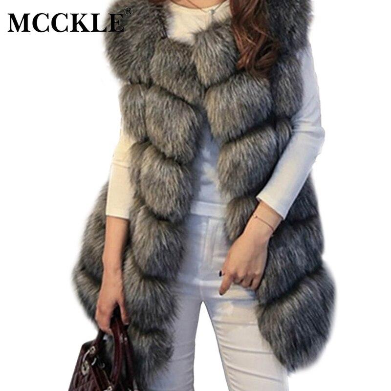 MCCKLE Hochwertige Pelzweste Mantel Luxus Faux Fuchs Warme Frauen mäntel Weste Winter Mode Pelz frauen Mantel Jacke Weste 4XL Pelz mantel