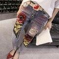 Rosas Lentejuelas Ripped Jeans para la Mujer Otoño Invierno Nuevas Llegadas de la Alta Cintura Denim Pantalones Lápiz Tallas grandes Pantalones Strench 41026