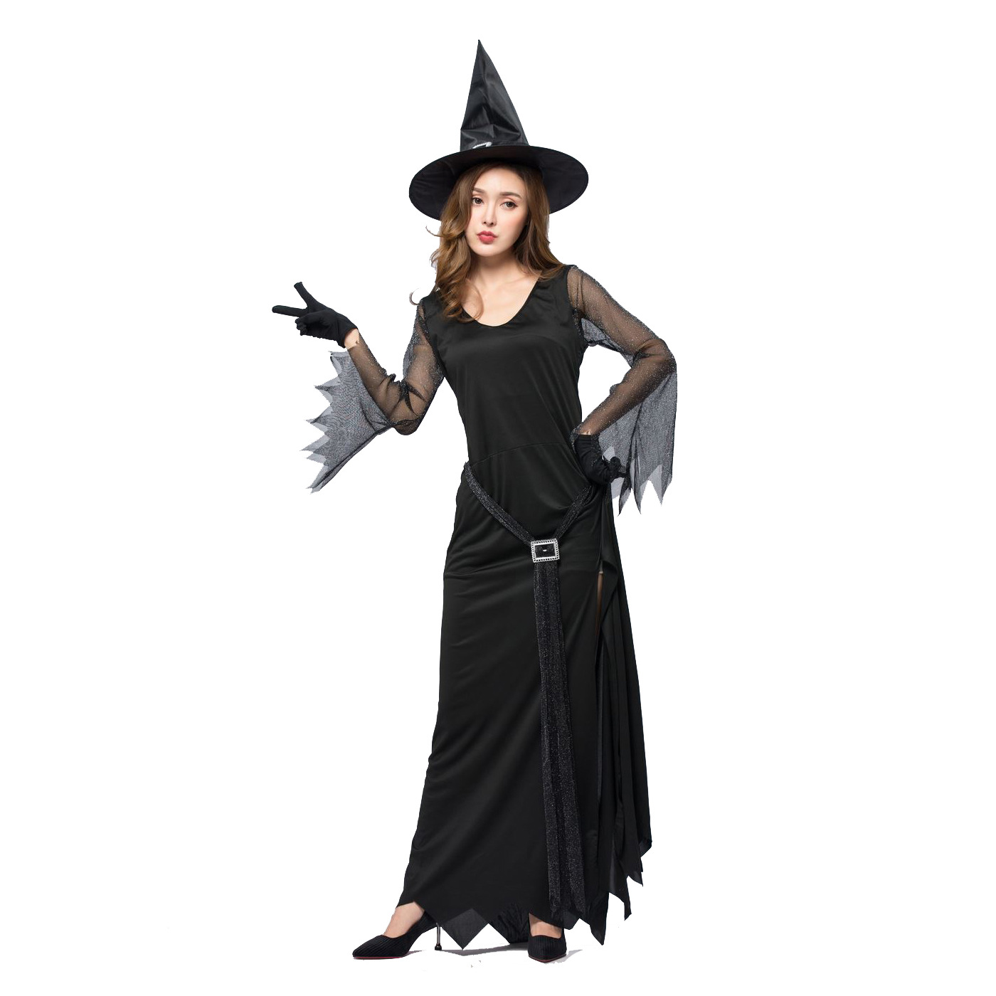 e9422dcf9e New 2019 Black Sexy Halloween Costume For Women Plus Size long dress evil  witch Costume Halloween Adulte Femme Disfraces Mujer